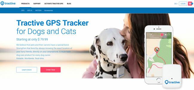 Tractive GPS homepage