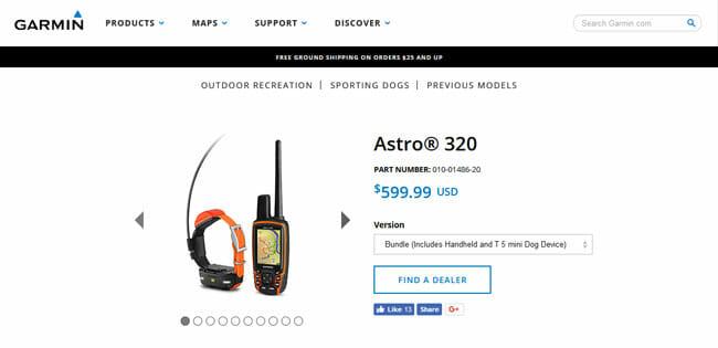 Garmin Astro 320 homepage