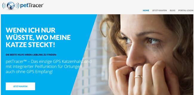 PetTracer printscreen homepage